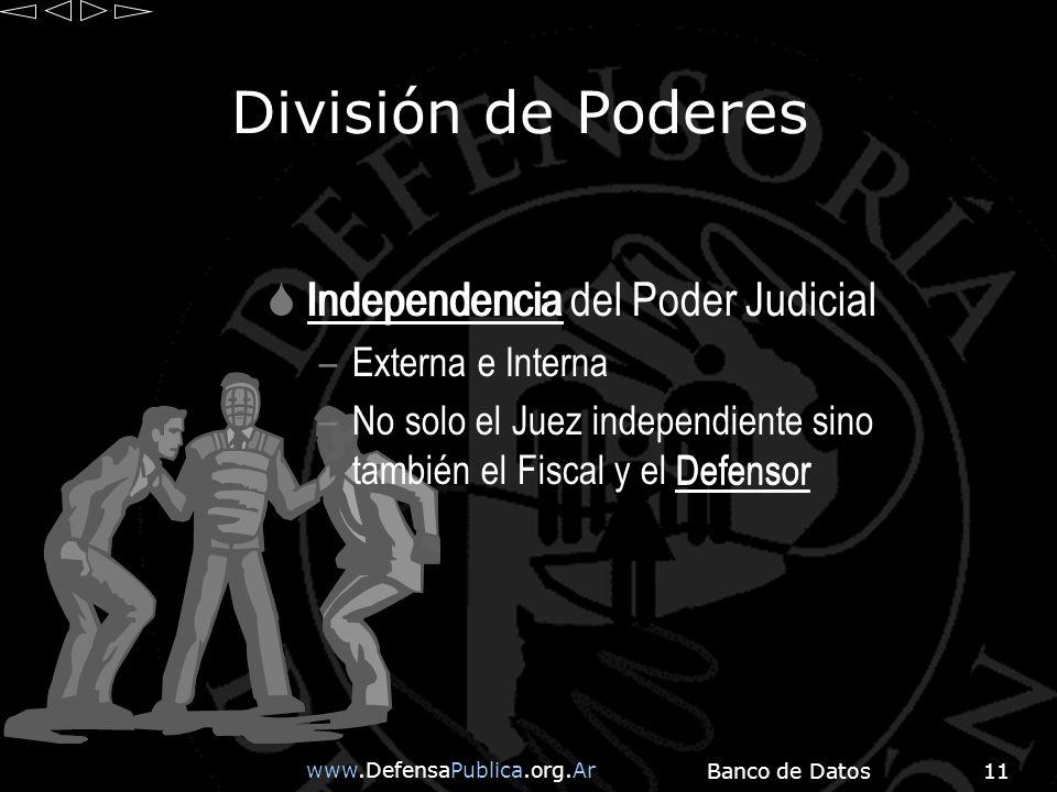 www.DefensaPublica.org.Ar Banco de Datos11 División de Poderes Independencia del Poder Judicial –Externa e Interna –No solo el Juez independiente sino también el Fiscal y el Defensor Independencia Defensor