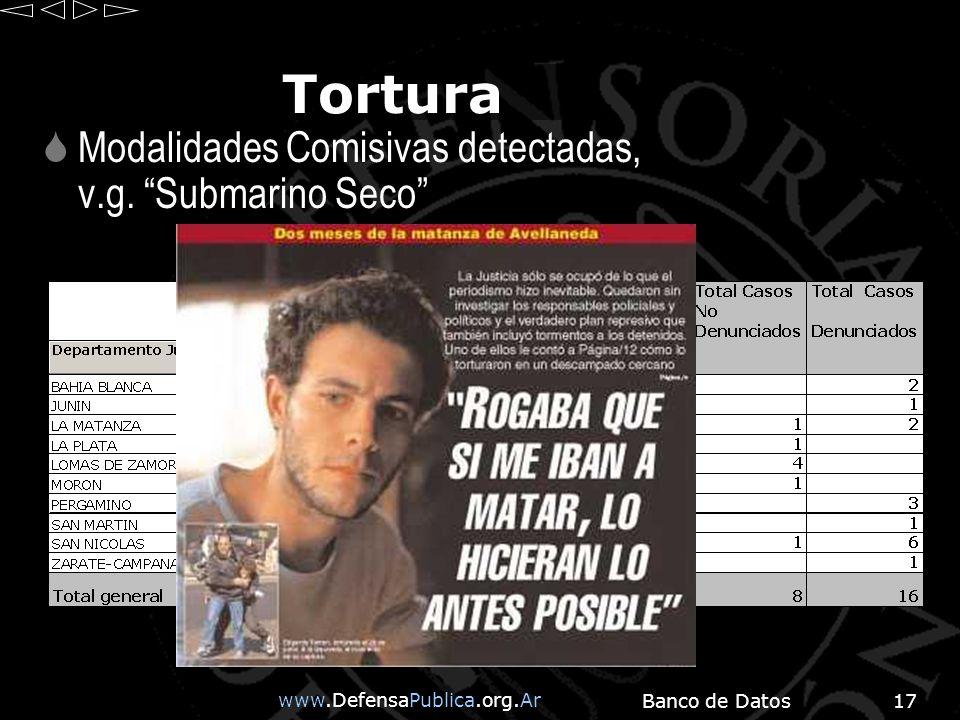 www.DefensaPublica.org.Ar Banco de Datos17 Tortura Modalidades Comisivas detectadas, v.g.