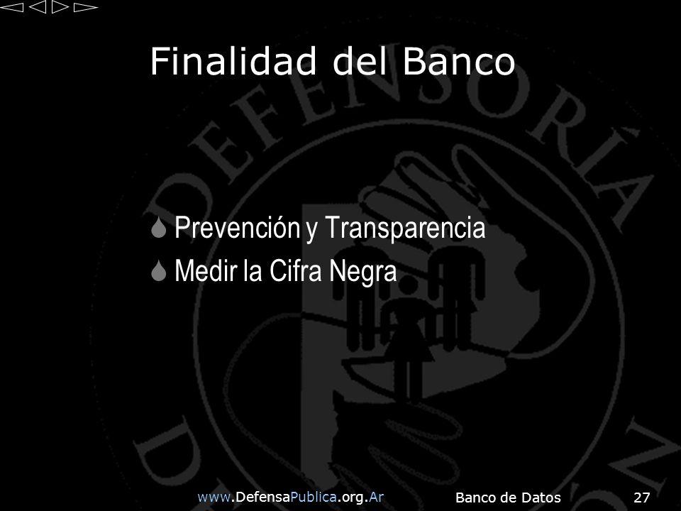 www.DefensaPublica.org.Ar Banco de Datos27 Finalidad del Banco Prevención y Transparencia Medir la Cifra Negra