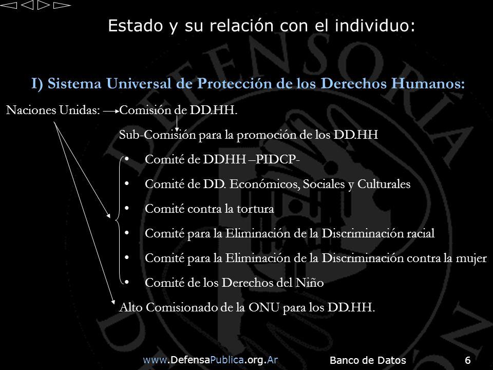 www.DefensaPublica.org.Ar Banco de Datos6 Estado y su relación con el individuo: I) Sistema Universal de Protección de los Derechos Humanos: Naciones Unidas:Comisión de DD.HH.