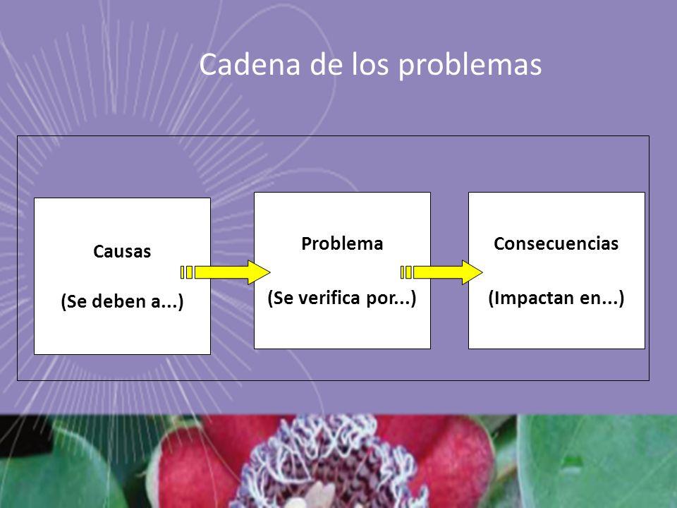 Causas (Se deben a...) Problema (Se verifica por...) Consecuencias (Impactan en...) Cadena de los problemas