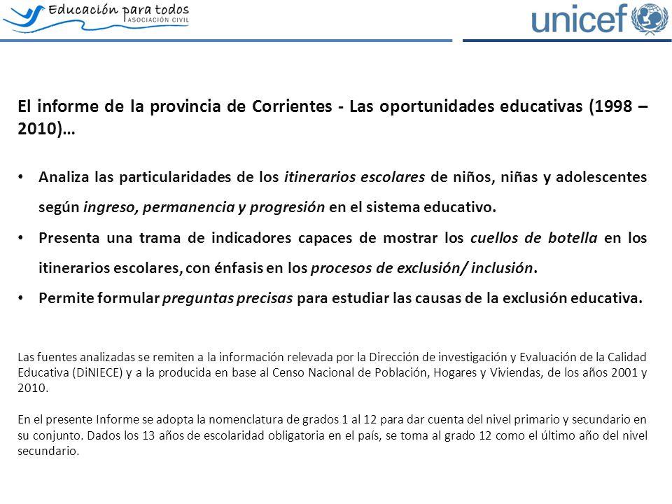 El informe de la provincia de Corrientes - Las oportunidades educativas (1998 – 2010)… Analiza las particularidades de los itinerarios escolares de niños, niñas y adolescentes según ingreso, permanencia y progresión en el sistema educativo.