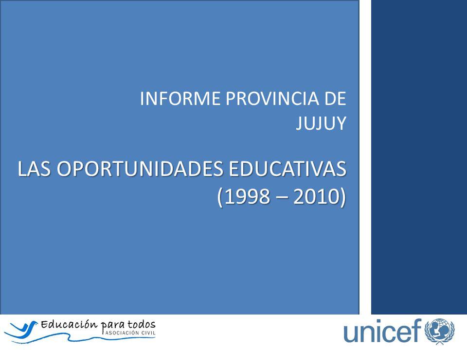 El Informe de la provincia de Jujuy - Las oportunidades educativas (1998 – 2010)… Analiza las particularidades de los itinerarios escolares de niños, niñas y adolescentes según ingreso, permanencia y progresión en el sistema educativo.