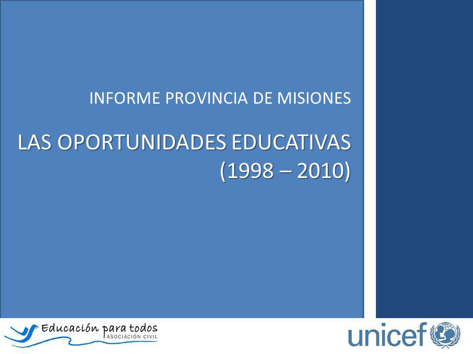 El Informe de la provincia de Misiones – Las oportunidades educativas (1998 – 2010)… Analiza las particularidades de los itinerarios escolares de niños, niñas y adolescentes según ingreso, permanencia y progresión en el sistema educativo.