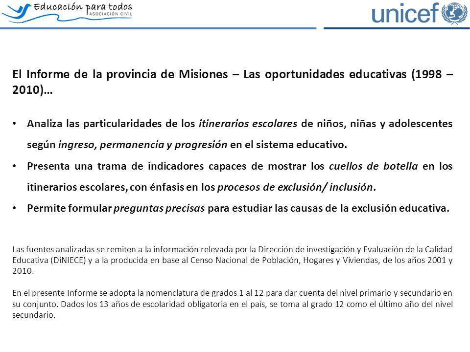 El Informe de la provincia de Misiones – Las oportunidades educativas (1998 – 2010)… Analiza las particularidades de los itinerarios escolares de niño
