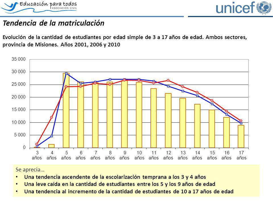 Tendencia de la matriculación Evolución de la cantidad de estudiantes por edad simple de 3 a 17 años de edad. Ambos sectores, provincia de Misiones. A