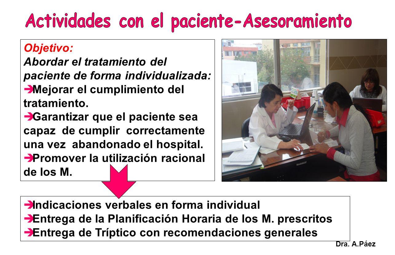 Objetivo: Abordar el tratamiento del paciente de forma individualizada: Mejorar el cumplimiento del tratamiento. Garantizar que el paciente sea capaz