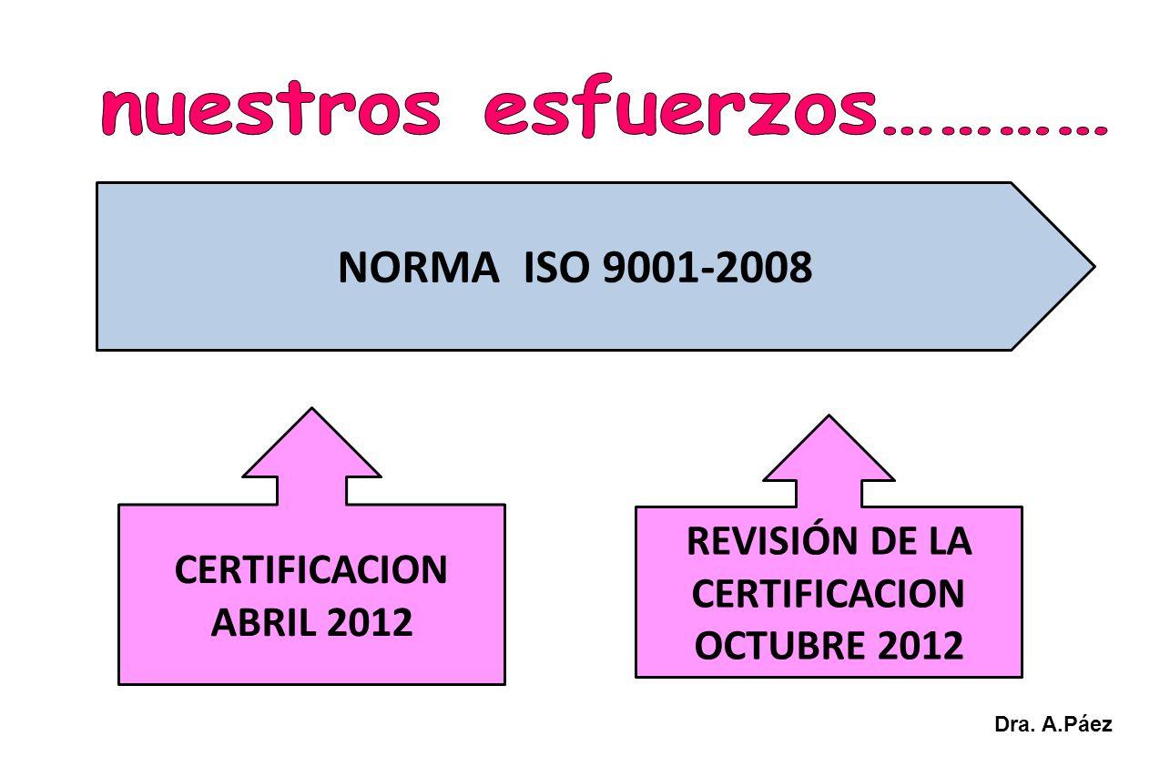 NORMA ISO 9001-2008 CERTIFICACION ABRIL 2012 REVISIÓN DE LA CERTIFICACION OCTUBRE 2012 Dra. A.Páez