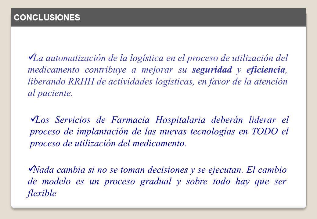 Los Servicios de Farmacia Hospitalaria deberán liderar el proceso de implantación de las nuevas tecnologías en TODO el proceso de utilización del medi