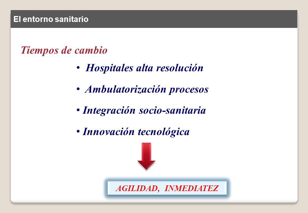 Hospitales alta resolución Ambulatorización procesos Integración socio-sanitaria Innovación tecnológica AGILIDAD, INMEDIATEZ El entorno sanitario Tiem