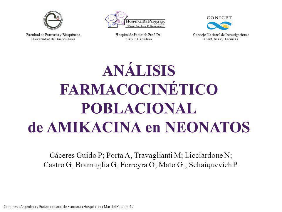 ANÁLISIS FARMACOCINÉTICO POBLACIONAL de AMIKACINA en NEONATOS Cáceres Guido P; Porta A, Travaglianti M; Licciardone N; Castro G; Bramuglia G; Ferreyra O; Mato G.; Schaiquevich P.