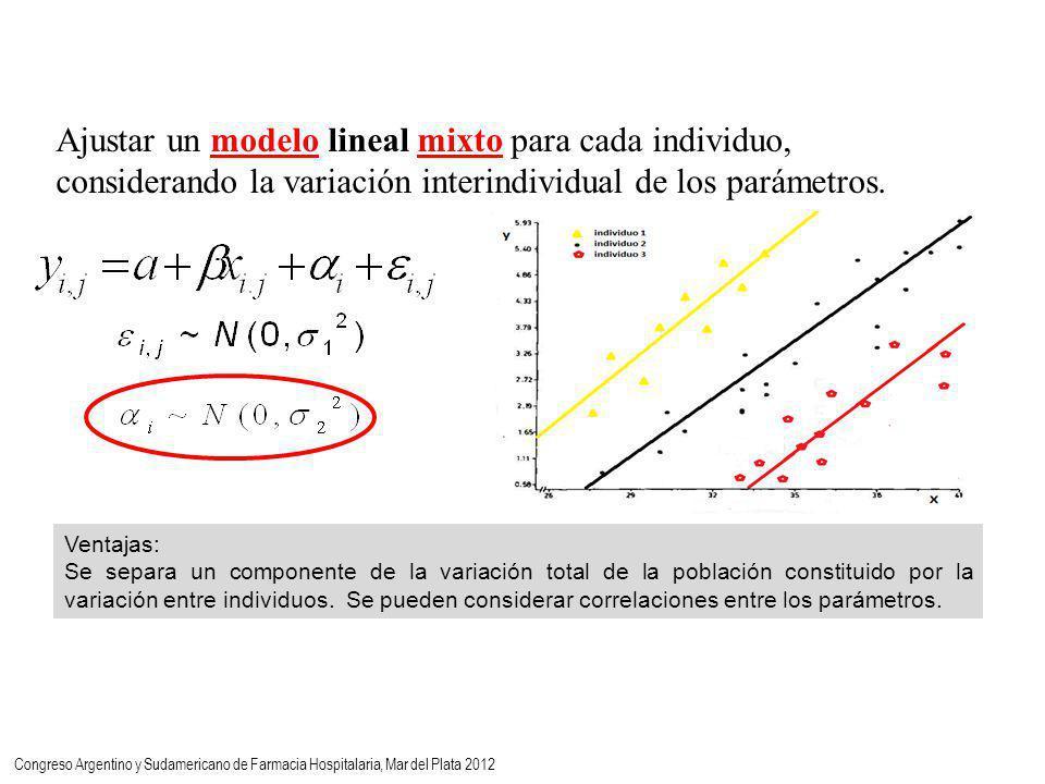 Ajustar un modelo lineal mixto para cada individuo, considerando la variación interindividual de los parámetros.