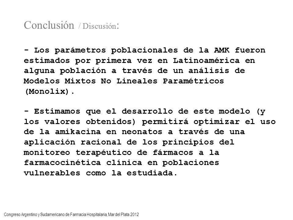 Conclusión / Discusión : - Los parámetros poblacionales de la AMK fueron estimados por primera vez en Latinoamérica en alguna población a través de un análisis de Modelos Mixtos No Lineales Paramétricos (Monolix).