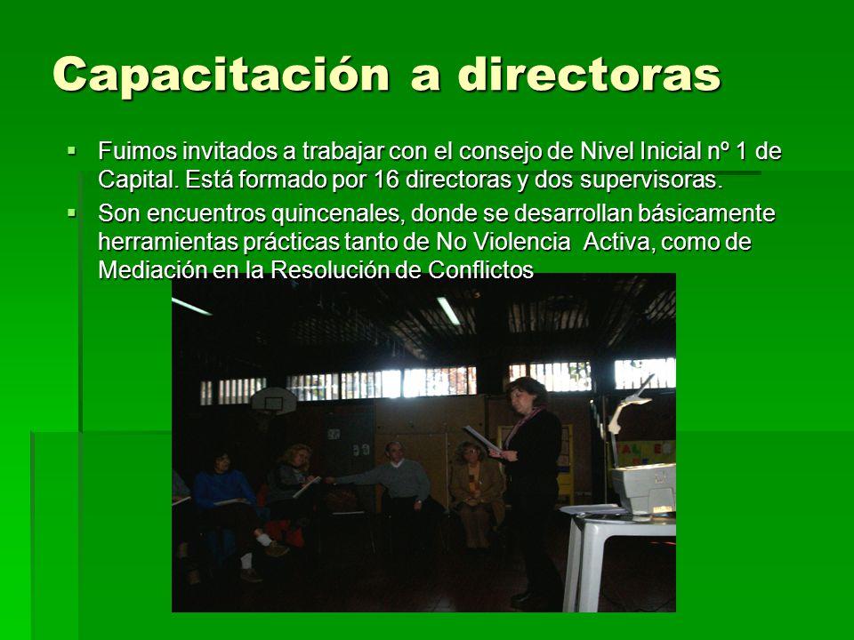 Capacitación a directoras Fuimos invitados a trabajar con el consejo de Nivel Inicial nº 1 de Capital.