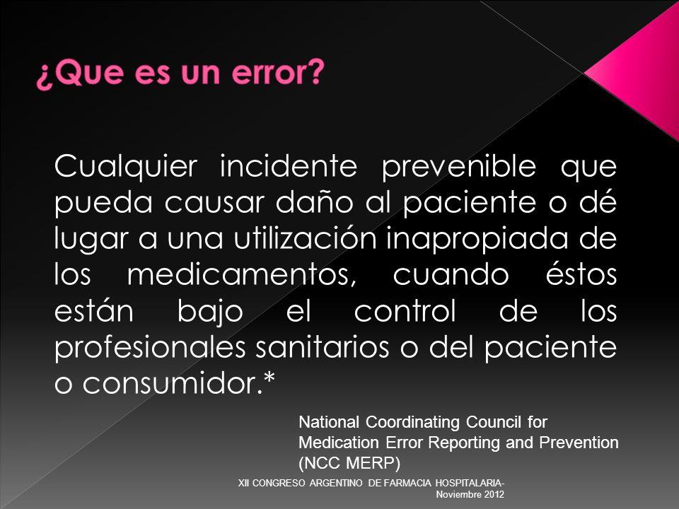 Cualquier incidente prevenible que pueda causar daño al paciente o dé lugar a una utilización inapropiada de los medicamentos, cuando éstos están bajo