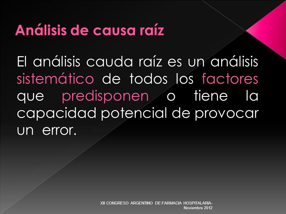 El análisis cauda raíz es un análisis sistemático de todos los factores que predisponen o tiene la capacidad potencial de provocar un error. XII CONGR
