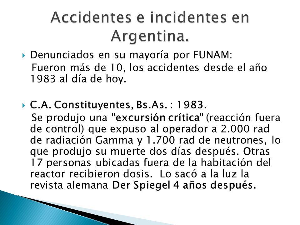 Denunciados en su mayoría por FUNAM: Fueron más de 10, los accidentes desde el año 1983 al día de hoy.