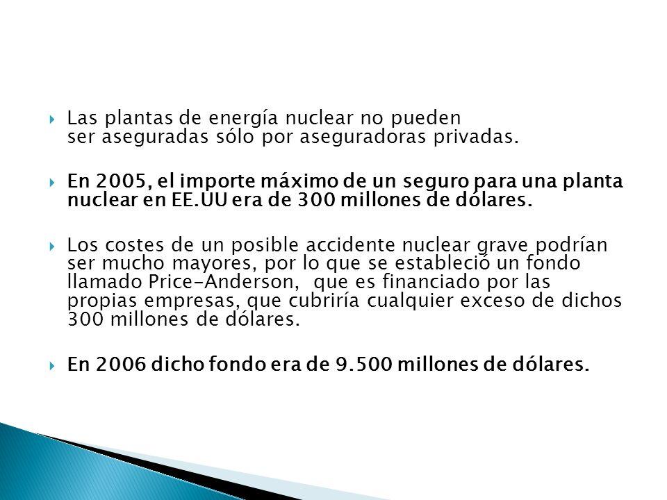 Las plantas de energía nuclear no pueden ser aseguradas sólo por aseguradoras privadas.