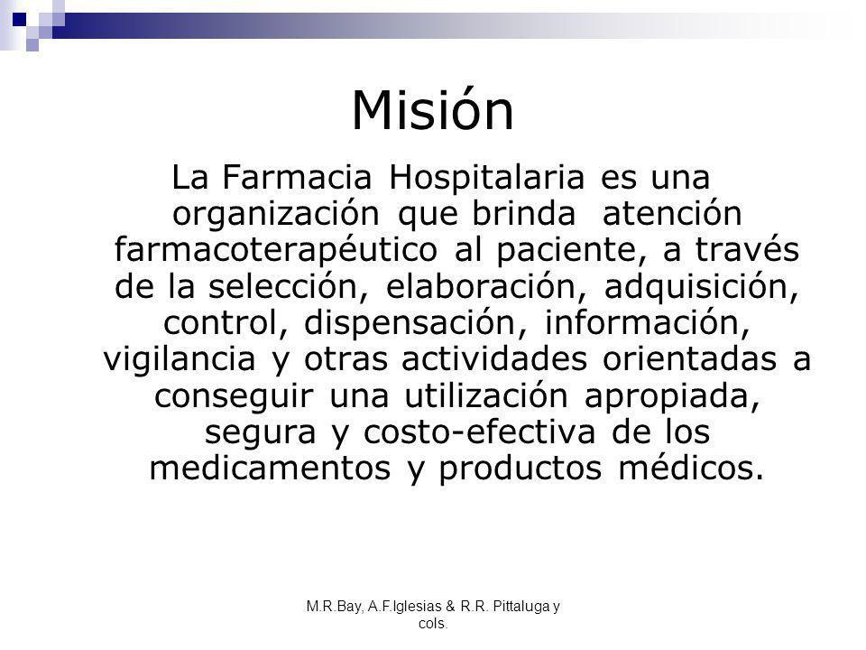 M.R.Bay, A.F.Iglesias & R.R. Pittaluga y cols. Misión La Farmacia Hospitalaria es una organización que brinda atención farmacoterapéutico al paciente,