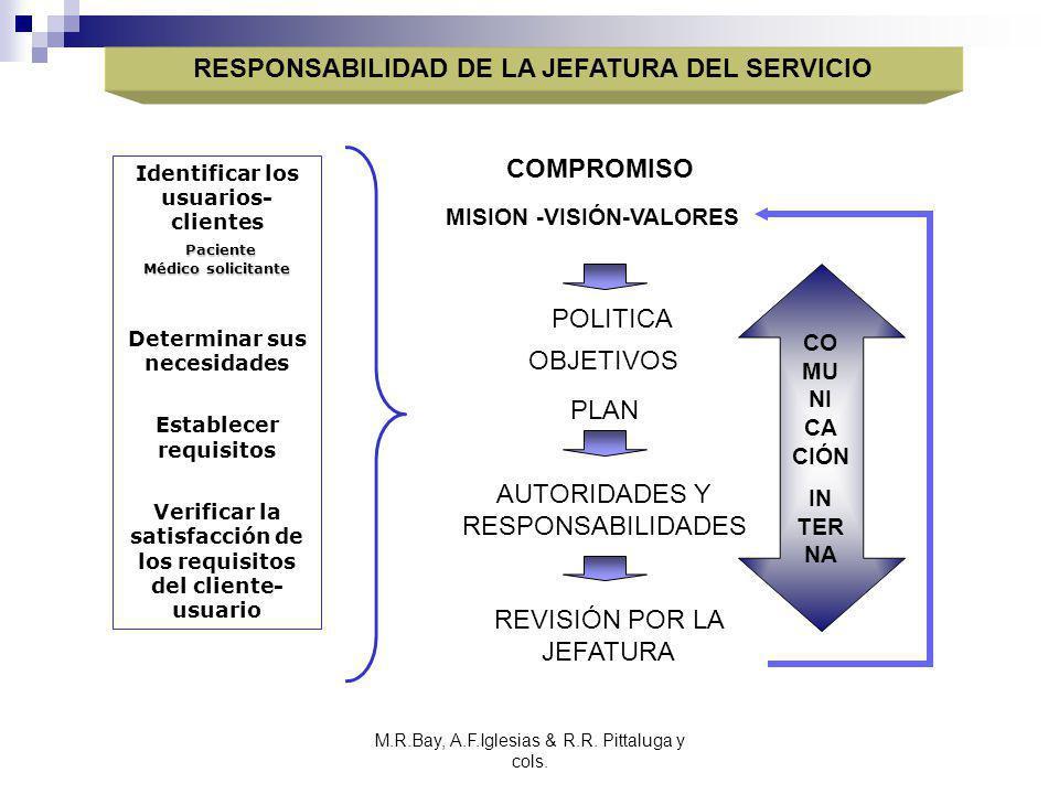 M.R.Bay, A.F.Iglesias & R.R. Pittaluga y cols. RESPONSABILIDAD DE LA JEFATURA DEL SERVICIO MISION -VISIÓN-VALORES Paciente Médico solicitante Identifi