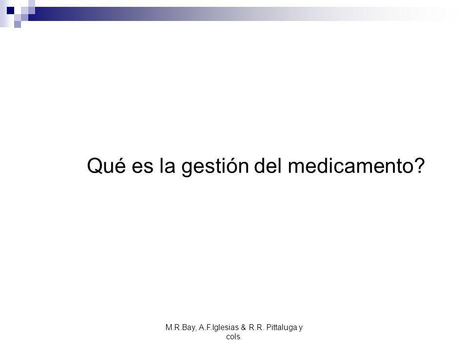M.R.Bay, A.F.Iglesias & R.R. Pittaluga y cols. Qué es la gestión del medicamento?