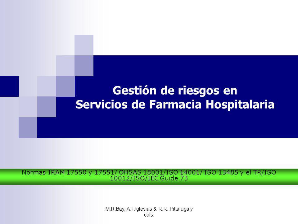 Gestión de riesgos en Servicios de Farmacia Hospitalaria Normas IRAM 17550 y 17551/ OHSAS 18001/ISO 14001/ ISO 13485 y el TR/ISO 10012/ISO/IEC Guide 7