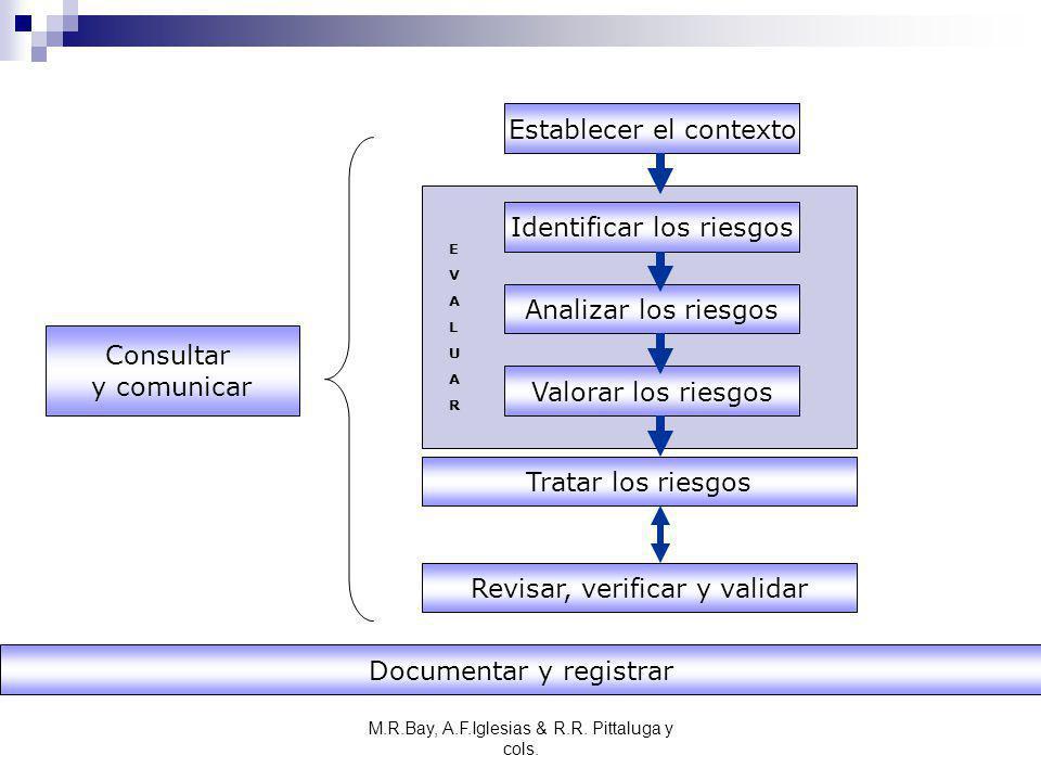 M.R.Bay, A.F.Iglesias & R.R. Pittaluga y cols. Establecer el contexto Identificar los riesgos Analizar los riesgos Valorar los riesgos Tratar los ries