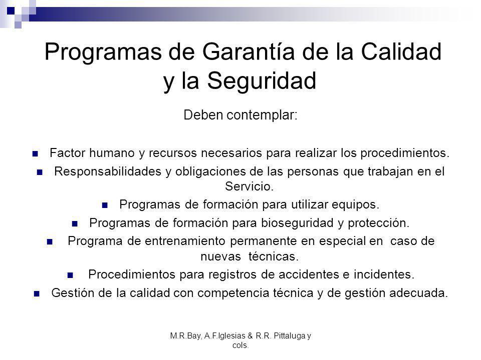 M.R.Bay, A.F.Iglesias & R.R. Pittaluga y cols. Programas de Garantía de la Calidad y la Seguridad Deben contemplar: Factor humano y recursos necesario