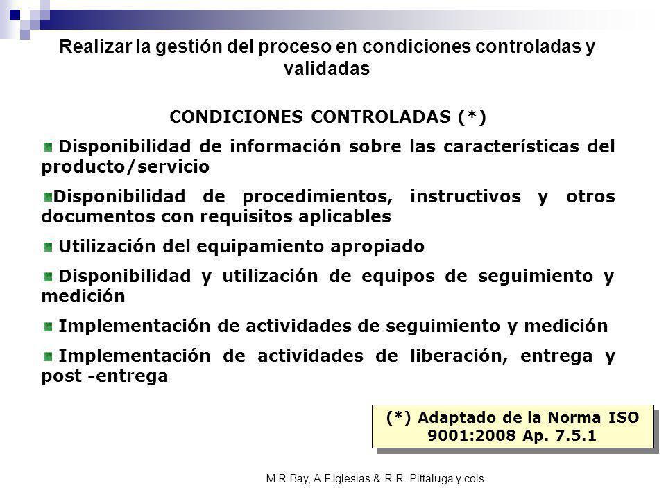 CONDICIONES CONTROLADAS (*) Disponibilidad de información sobre las características del producto/servicio Disponibilidad de procedimientos, instructiv