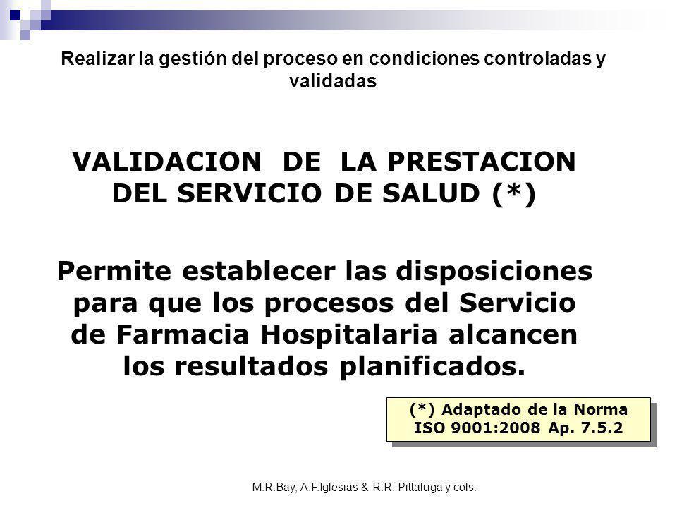 VALIDACION DE LA PRESTACION DEL SERVICIO DE SALUD (*) Permite establecer las disposiciones para que los procesos del Servicio de Farmacia Hospitalaria