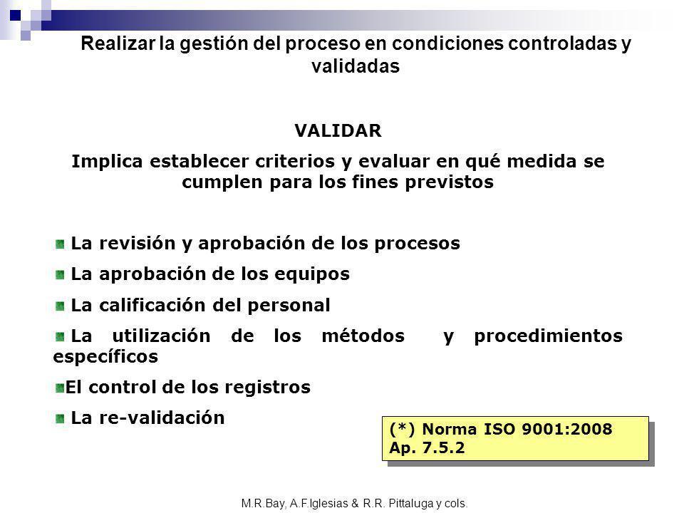 VALIDAR Implica establecer criterios y evaluar en qué medida se cumplen para los fines previstos La revisión y aprobación de los procesos La aprobació