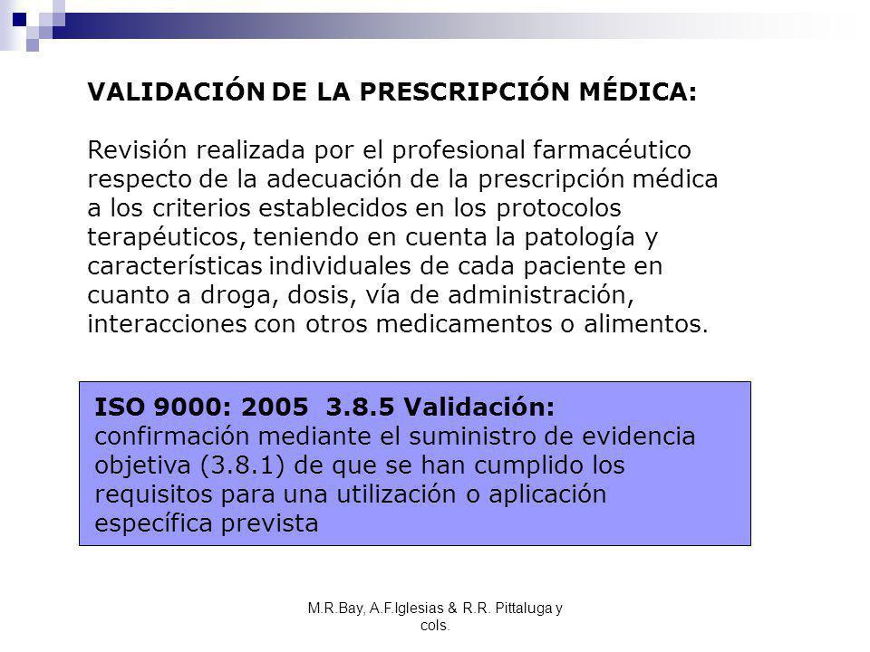 VALIDACIÓN DE LA PRESCRIPCIÓN MÉDICA: Revisión realizada por el profesional farmacéutico respecto de la adecuación de la prescripción médica a los cri