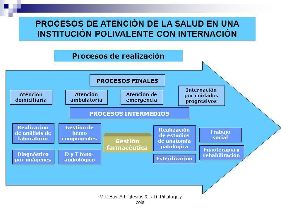 PROCESOS DE ATENCIÓN DE LA SALUD EN UNA INSTITUCIÓN POLIVALENTE CON INTERNACIÓN Procesos de realización Atención domiciliaria Gestión de hemo componen