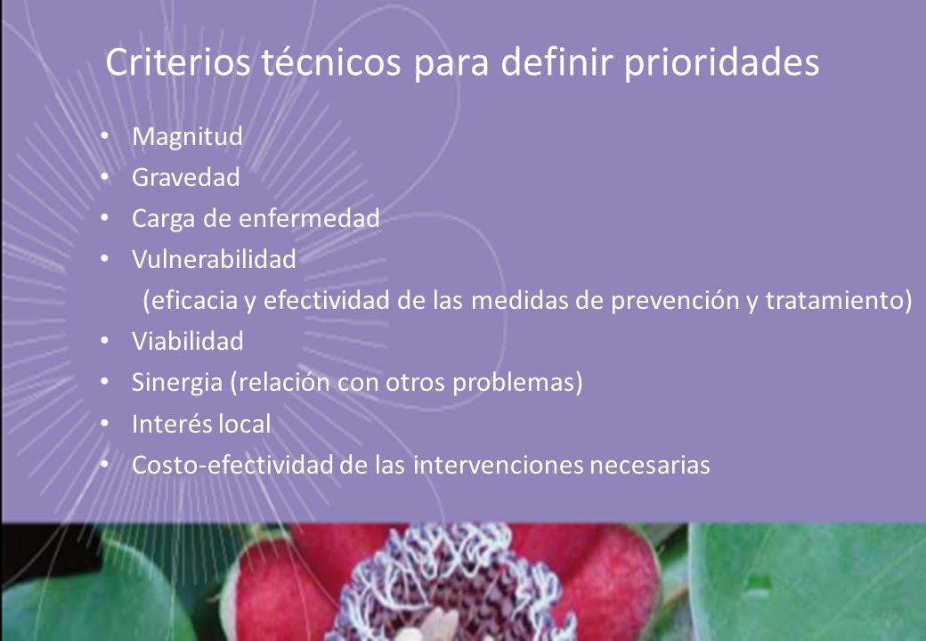 Criterios técnicos para definir prioridades Magnitud Gravedad Carga de enfermedad Vulnerabilidad (eficacia y efectividad de las medidas de prevención