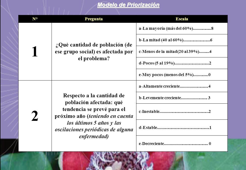 Modelo de Priorización N°PreguntaEscala 1 ¿Qué cantidad de población (de ese grupo social) es afectada por el problema? a-La mayoría (más del 60%)....