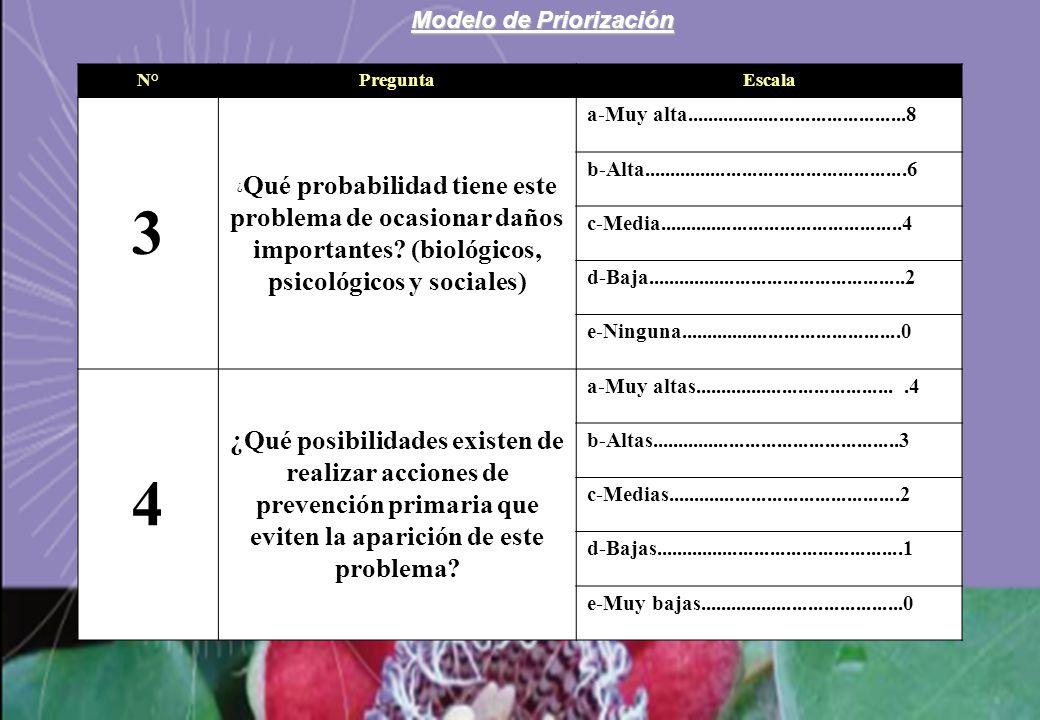 Modelo de Priorización N°PreguntaEscala 3 ¿ Qué probabilidad tiene este problema de ocasionar daños importantes? (biológicos, psicológicos y sociales)