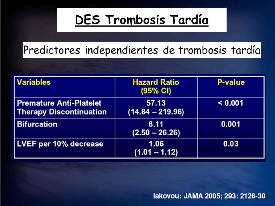 DES Trombosis Tardía Predictores independientes de trombosis tardía