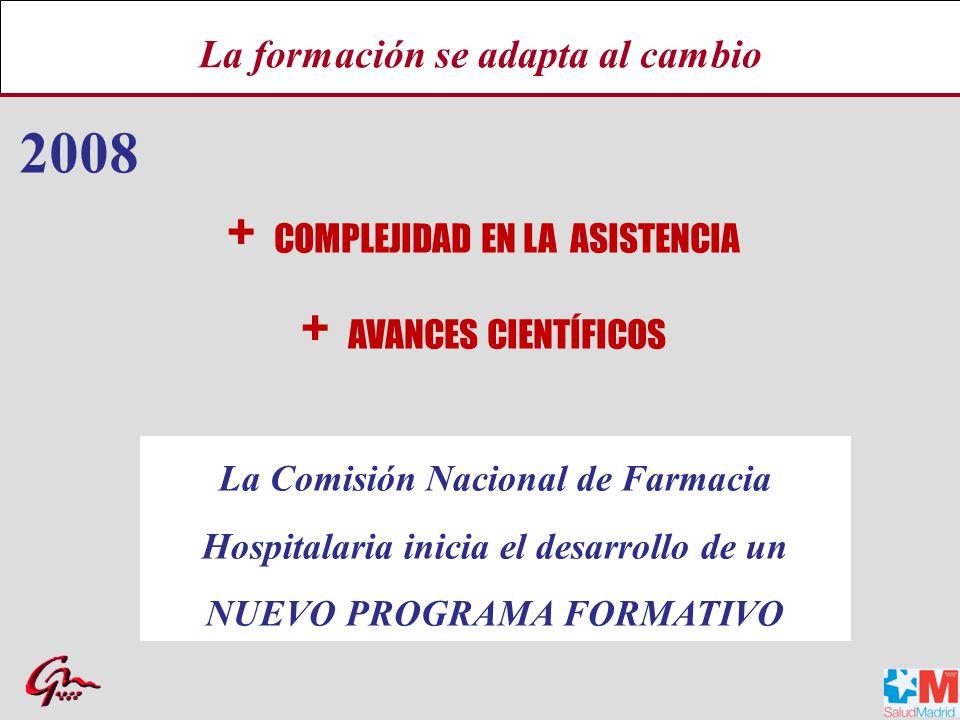 2008 + COMPLEJIDAD EN LA ASISTENCIA + AVANCES CIENTÍFICOS La Comisión Nacional de Farmacia Hospitalaria inicia el desarrollo de un NUEVO PROGRAMA FORMATIVO La formación se adapta al cambio
