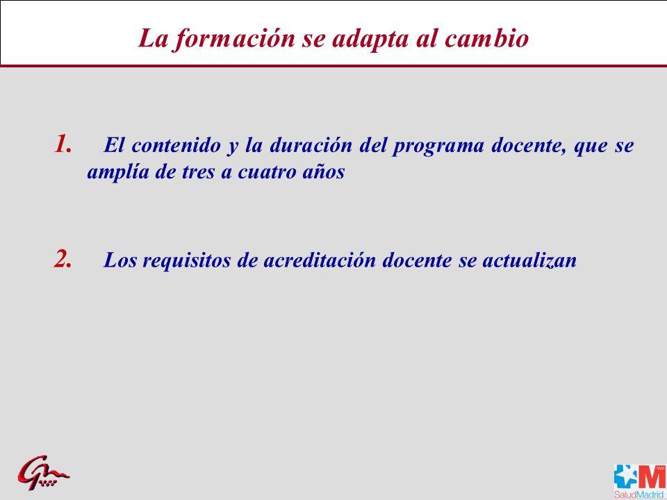 1.El contenido y la duración del programa docente, que se amplía de tres a cuatro años 2.