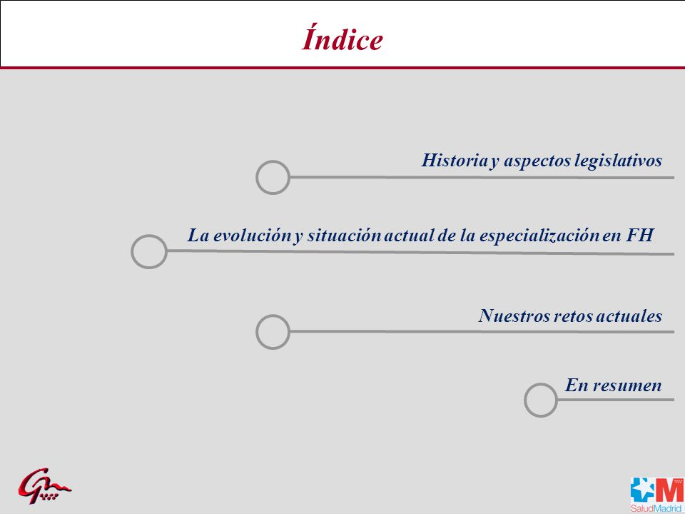 Índice Historia y aspectos legislativos La evolución y situación actual de la especialización en FH En resumen Nuestros retos actuales