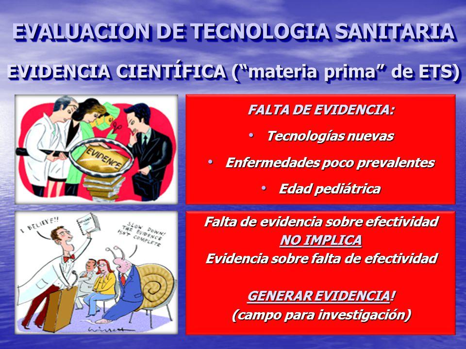Falta de evidencia sobre efectividad NO IMPLICA Evidencia sobre falta de efectividad GENERAR EVIDENCIA.