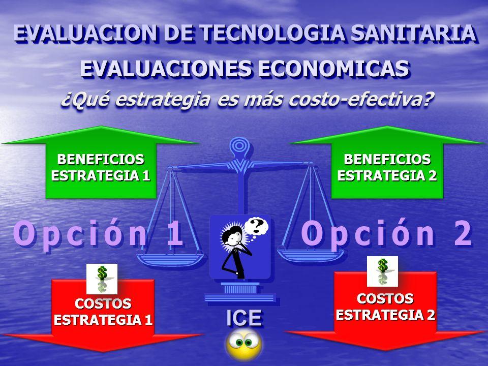 EVALUACIONES ECONOMICAS ICEICE COSTOS ESTRATEGIA 1 COSTOS BENEFICIOS BENEFICIOS BENEFICIOS ESTRATEGIA 2 BENEFICIOS COSTOS COSTOS EVALUACION DE TECNOLOGIA SANITARIA