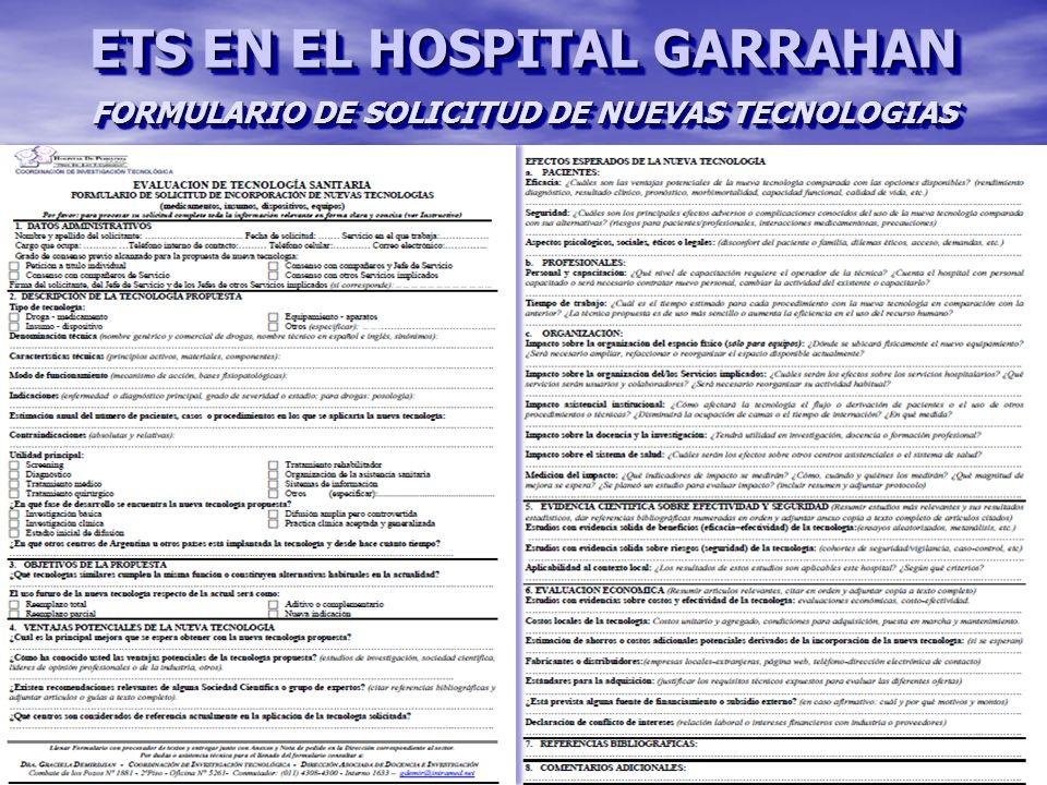 FORMULARIO DE SOLICITUD DE NUEVAS TECNOLOGIAS ETS EN EL HOSPITAL GARRAHAN