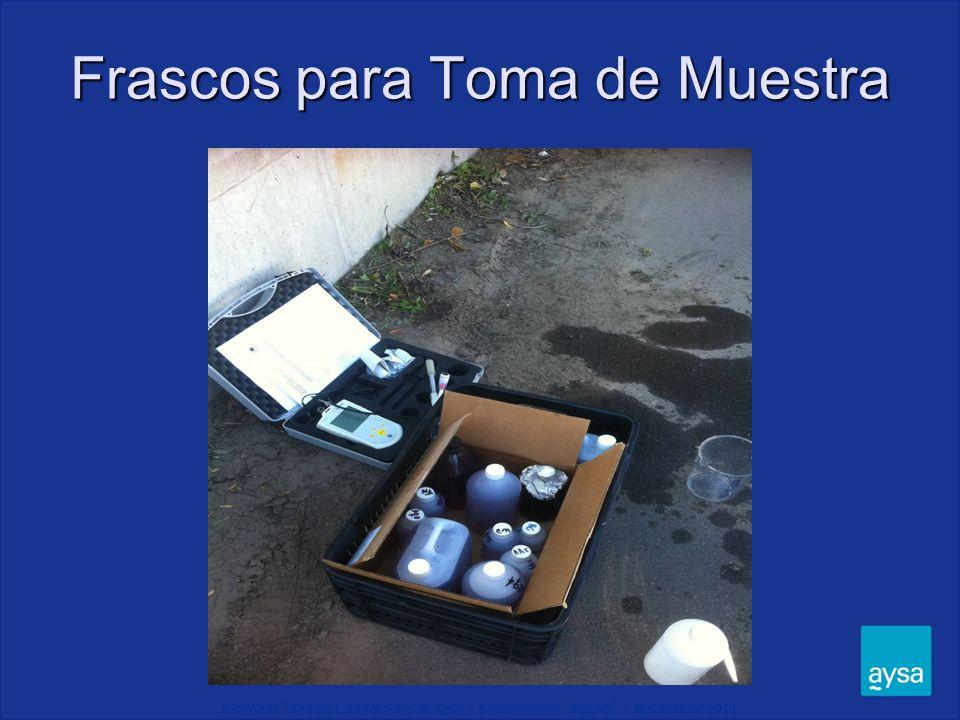 I Jornada Red de Laboratorios de Agua y Saneamiento - RELAS - Noviembre 2011 Frascos para Toma de Muestra