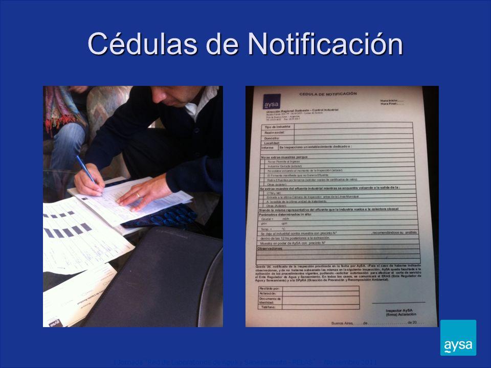 I Jornada Red de Laboratorios de Agua y Saneamiento - RELAS - Noviembre 2011 Cédulas de Notificación