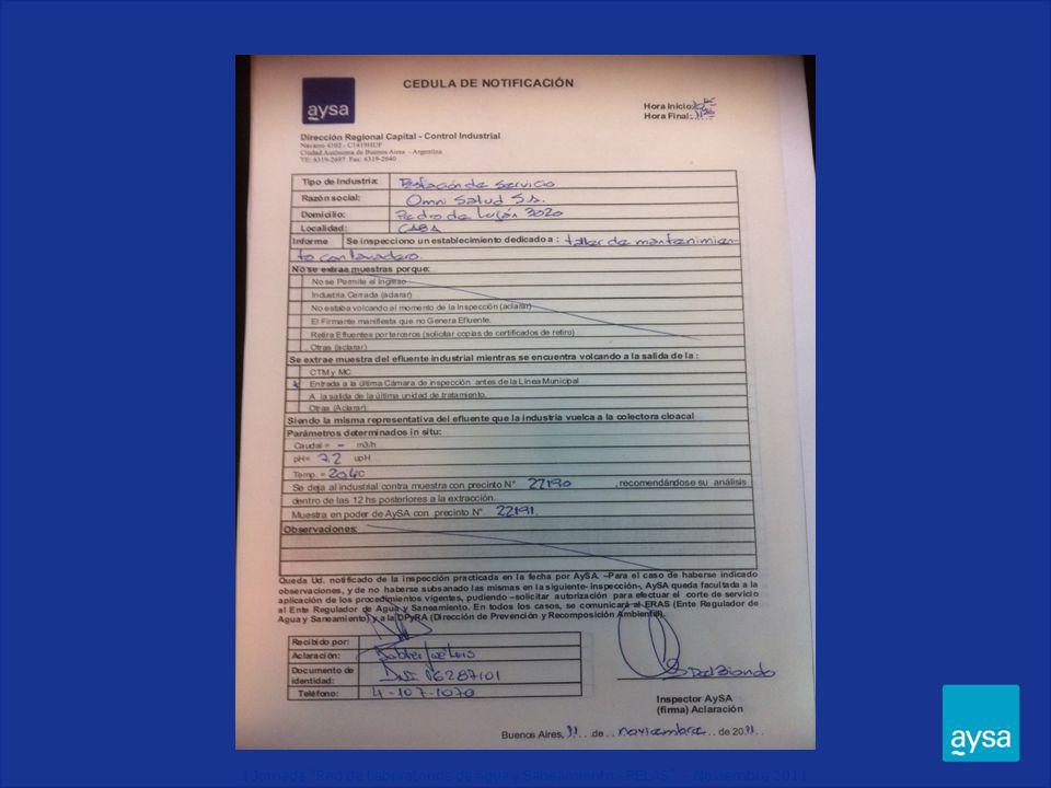 I Jornada Red de Laboratorios de Agua y Saneamiento - RELAS - Noviembre 2011