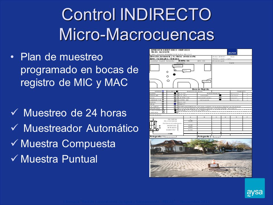 I Jornada Red de Laboratorios de Agua y Saneamiento - RELAS - Noviembre 2011 Muestreador Automático