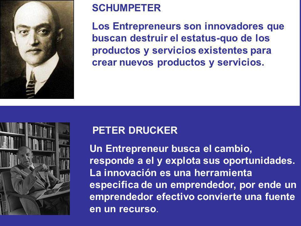 SCHUMPETER Los Entrepreneurs son innovadores que buscan destruir el estatus-quo de los productos y servicios existentes para crear nuevos productos y servicios.