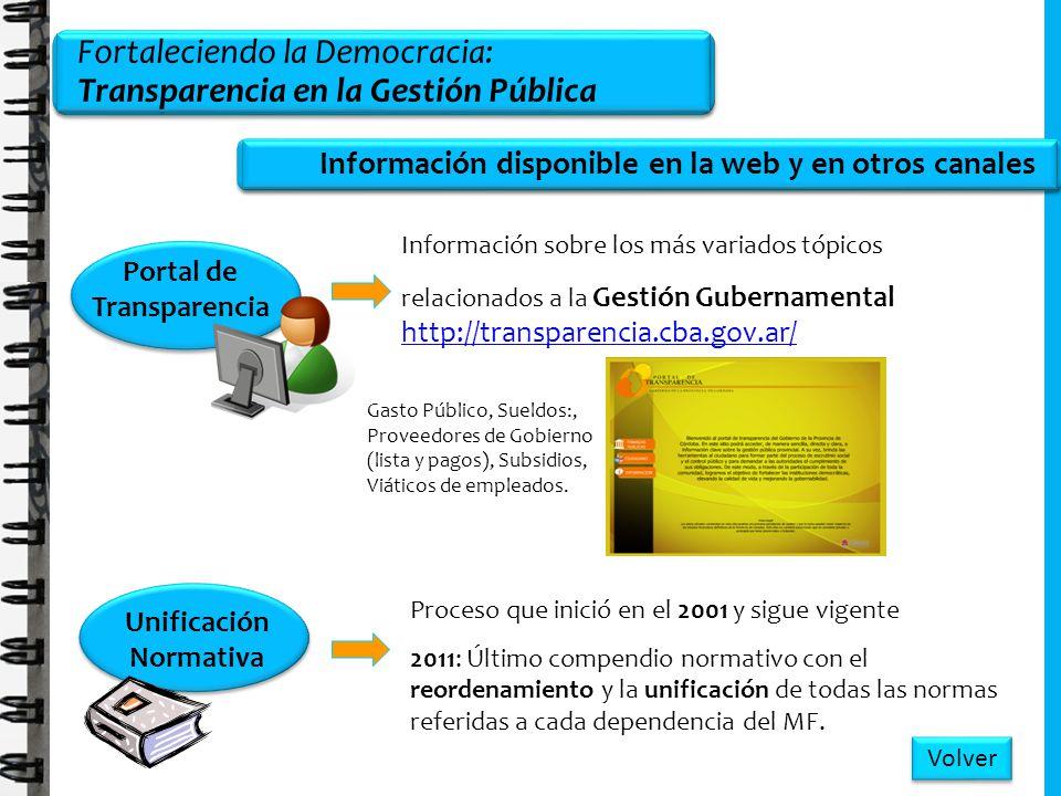 Fortaleciendo la Democracia: Transparencia en la Gestión Pública Información disponible en la web y en otros canales Información sobre los más variado