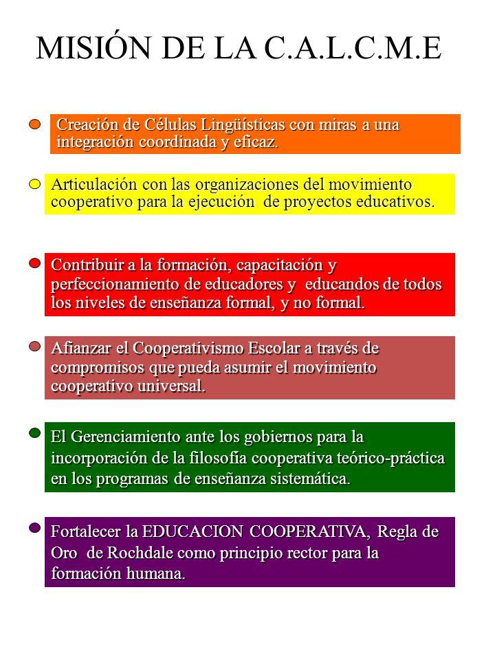MISIÓN DE LA C.A.L.C.M.E Creación de Células Lingüísticas con miras a una integración coordinada y eficaz.